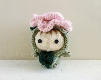 Baby Doll, Rose Baby Cecile Nighttwinkle, Knit Amigurumi Doll, Crochet Flower - Garden Party Collection