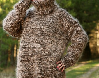 Thick and fuzzy hand knit mohair sweater, 6 strands mohair in brown beige melange by SuperTanya