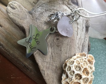 Purple seaglass, sea soul/starfish pendant