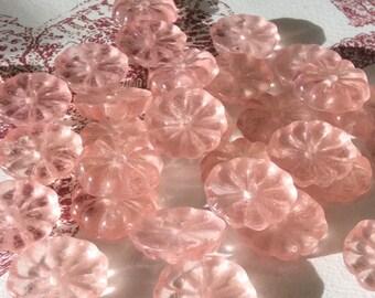 Rosettes en verre Vintage Rose tchèque ou allemand