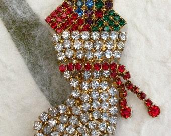 Rhinestone Christmas Stocking Brooch with Presents