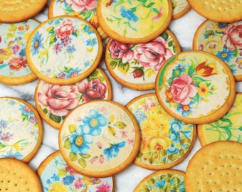 Edible Floral Chintz Circles Wafers Rice Paper Med x 15 Vintage Flower Images Cake Decorations Wedding Cupcake Toppers Cookie Favours RTD