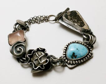 Handmade Woman's Sterling Silver Bracelet with Nevada Turquoise, Rose Quartz, and Ancient Anasazi Potsherd