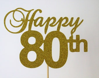 Happy 80th Cake Topper - Number Customisable