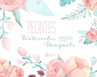 Peonies Watercolor Bouquets: Digital Clipart. Hand painted watercolour floral, wedding diy elements, flowers, invite, printable, blossom