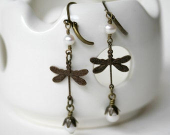 Antique Brass Long Dangling Dragonfly and Pearl Earrings