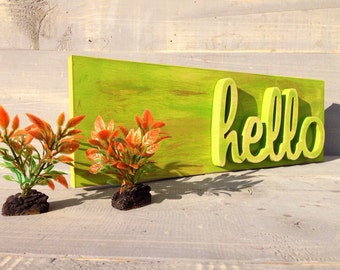 Wooden wall art  Hello Sign - Hello Welcome Sign- Handmade Wooden Sign