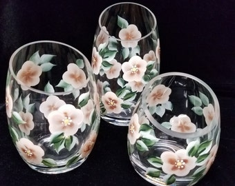 Hand Painted Candle Holders, Ivory and Tan Trio
