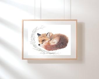 REDUCED Original Fox watercolour Sleeping fox animal nature wall art wall decor home decor A3
