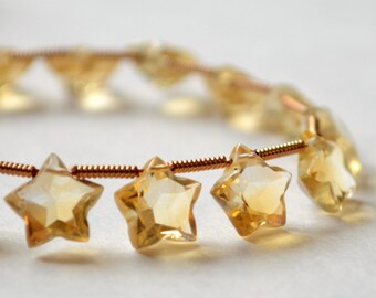 Citrine Star Briolettes, AA Gemstone Beads, Golden Yellow, Semiprecious Stone, Top Drilled, November Birthstone, 7 to 8mm wide, Set of 10