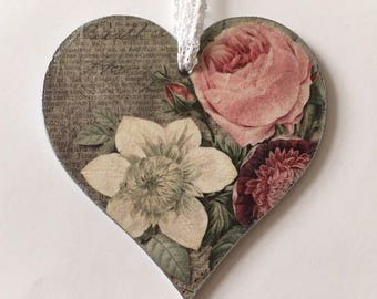 Vintage home decor, Hanging heart, wooden decoupaged heart, vintage style decor, decorative heart, Mother's Day gift