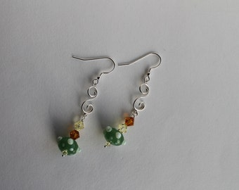 Sterling Silver Swirl Earrings with Swarovski Crystals and Lampwork Glass Beads