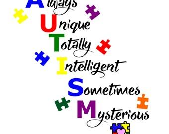SVG - Autism Unique  - Autism Quote - Autism Awareness - Autism Puzzle - Autism Color Puzzle - Autism Tshirt Design - Autism Sign Design