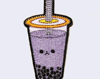 Boba Tea Patch - Bubble Tea Embroidered Patch Taro