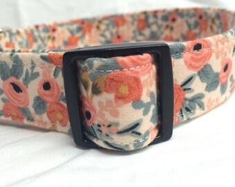 Rifle Paper Co. Dog Collar Les Fleurs Fabric Wedding Rosa Floral Peach