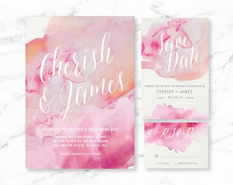 Watercolor Printable Wedding Invitation Set