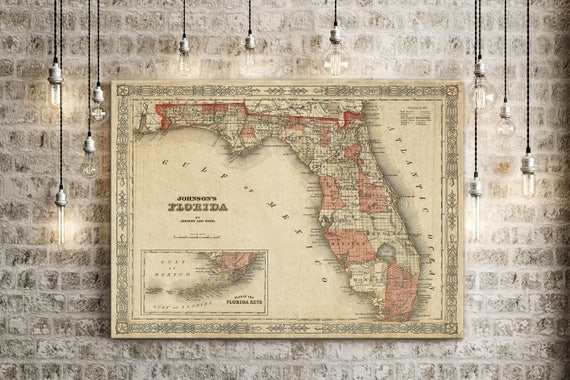 Old Florida Map 1863 Johnson's Map of Florida Restoration Style Florida state Map Vintage Florida Wall Map coastal Map housewarming Gift