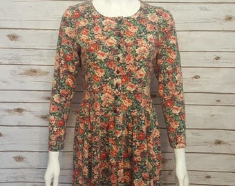 Vintage, 80's, Laura Ashley cotton floral day dress/ Small