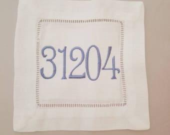 Zip Code Linen Hemstitch Coaster