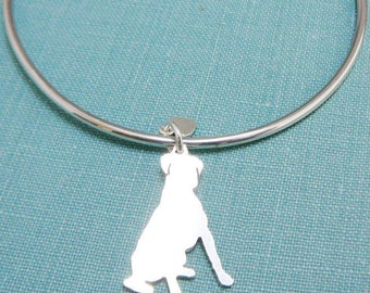 Boxer Dog Bangle Bracelet, Sterling Silver Personalize Sitting Boxer Pendant, Breed Silhouette Charm, Resue Shelter, Mothers Day Gift
