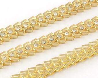"""hinged fancy chain """"W"""" gold rhinestone Crystal - 20 cm - CHR115GC110"""