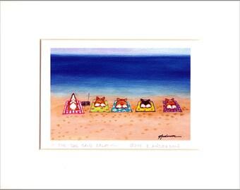 """Evie Anderson Pembroke Welsh Corgi Dog Art SIGNED PRINT """"Five Dog Sand Splat""""  ( signed, matted)"""