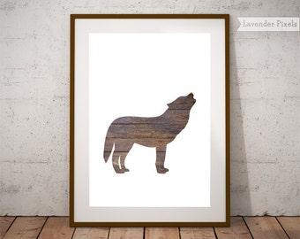 Minimalist poster Woodland nursery Printable forest art Rustic home decor Farmhouse modern Wood wall art Wolf wall print Gift for husband