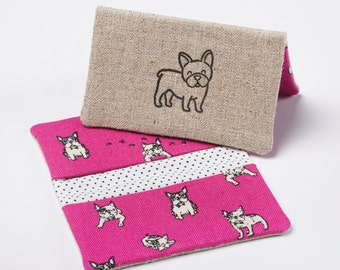 Dog Card Holder, Fabric Business Card Case, Bifold Wallet in Fushia Pink Boston Terrier