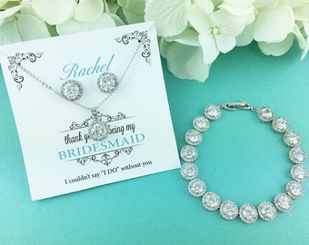 Bridesmaid Jewelry Gift Set, Personalized Bridesmaids Gift, Bridesmaid Stud Earrings, Bridesmaids Gifts, Ansley Bridesmaids Three Piece Set