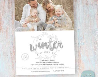 Winter Photography Marketing Board - Winter Mini Sessions - Photoshop template - IW027 - INSTANT DOWNLOAD