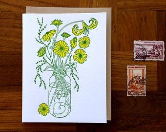 Ball Jar, Letterpress Note Card, Blank Inside