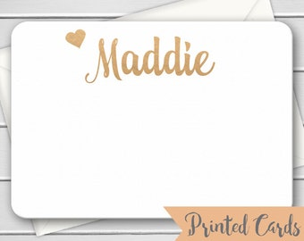 Foiled Name Note Cards - 12pk, Personalized Flat Note Cards, Gifts under 15, Printed with Envelopes (NC-015-F)