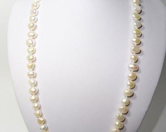 14K Solid Gold Freshwater Pearl Necklace And Bracelet set-Length 46.5/19cm