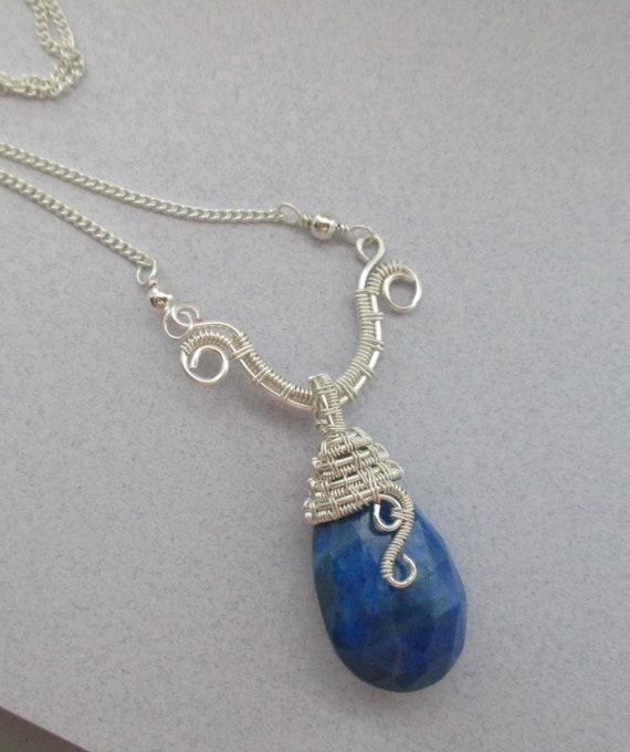 Lapis Lazuli Woven Wire Wrapped Briolette Pendant N423182