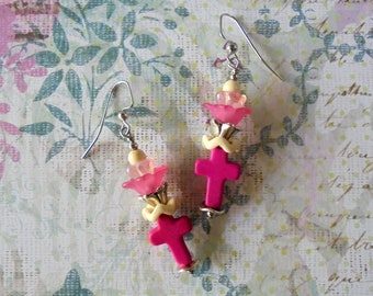 Pink and White Flower and Cross Earrings (4386)