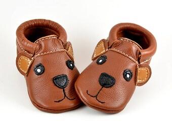 Bear Moccs | Baby Moccasins | Genuine Leather Moccasins | Brown Moccs | Grizzly Bear Moccasins | Handmade Baby Moccs | Newborn Moccs