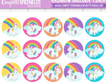 "INSTANT DOWNLOAD Magical ""Rainbow Unicorn"" 4x6"" 1"" Inch Bottle Cap Image/Digital Collage Sheet"