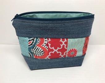 Small Denim Zippered Pouch with Patchwork Red and Blue