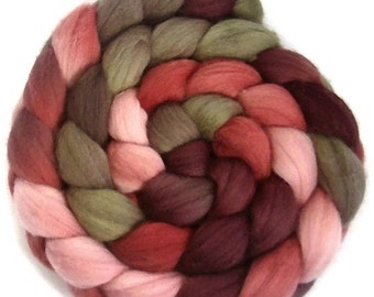 Handpainted Polwarth Wool Roving - 4 oz. PAPER ROSES - Spinning Fiber