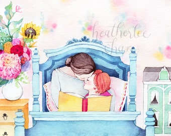 "Mother and Daughter Reading - ""Storytime"" - Watercolor Art Print"