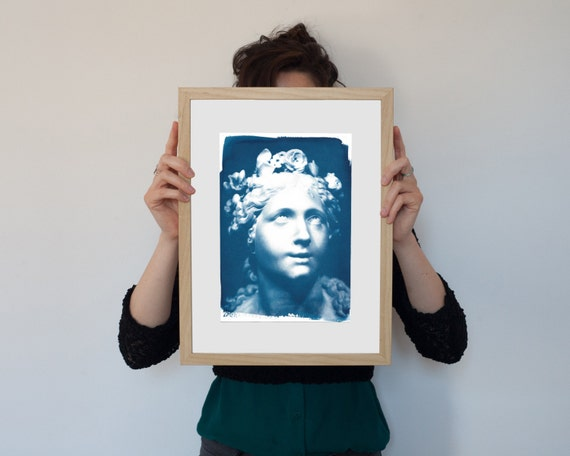 Bernini Blessed Soul Sculpture, Cyanotype Art Print on Watercolor Paper, A4 size (Limited Edition)