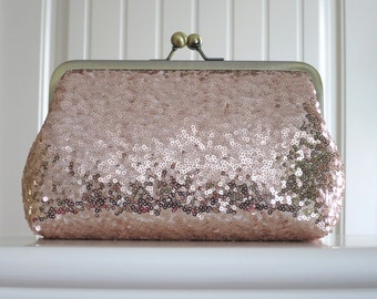 Rose Gold Blush Sequin Clutch,Wedding Accessories,Bridal Accessories,clutch,Wedding Clutch,Bridesmaid Clutch, Bridal Purse