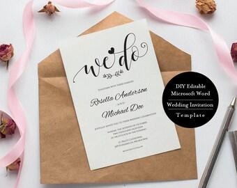 Wedding Invitation Suite Printable, Wedding Invitation Template, Wedding Invitations, Wedding Invitation Set Template, MSW142