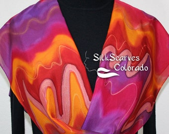 Hand Painted Silk Scarf. Red, Orange & Purple Handmade Scarf SPICE GIRL. Size 11x60 in. Silk Scarves Colorado. Hand Dyed Scarf 100% silk.