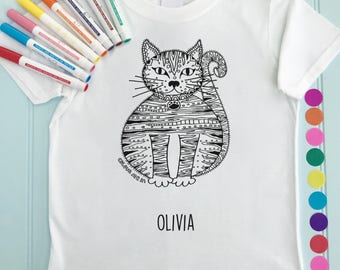 Cat Girls Tee Shirt Personalised Colour in Cat Design Doodle Colouring in Art Fabric Pens T-Shirts Fun Activity for Kids
