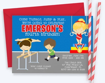 Gymnastics Invitation, Gymnastics Party Invitation, Gymnastics Birthday Invitation, Gymnastic Invitation, Tumble, Gymnastics Invite | 517