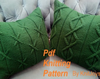 PDF Knitting Pattern, Cable knit pillow cover pattern *Our life paths intersect*, 18 x 18, zipper