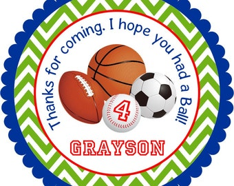All Star Sports Stickers, Sports Personalized Stickers, All Sports Birthday Party - Set of 12