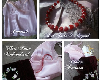 RED JADE HEART Crystal Bracelet ~ Embroidered Velvet Purse ~ Pink Silky Chamisole ~ Romantic Girlfriend Gift Choice