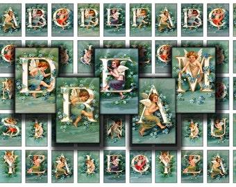 2x3 inch  letters initials alphabet cherubs tiles images tag label printable download digital collage sheet ellen clapsaddle
